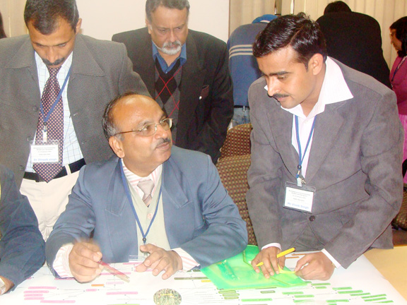 Dr. V. Singh & Dr. J. Chatterjee of IITK discussing on Wheat KM with others